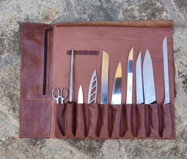 Funda para cuchillos en piel