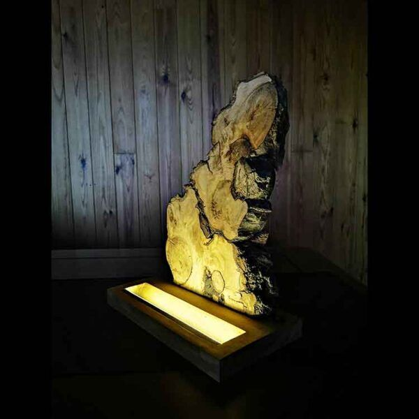 Lampara de madera para mesita de noche