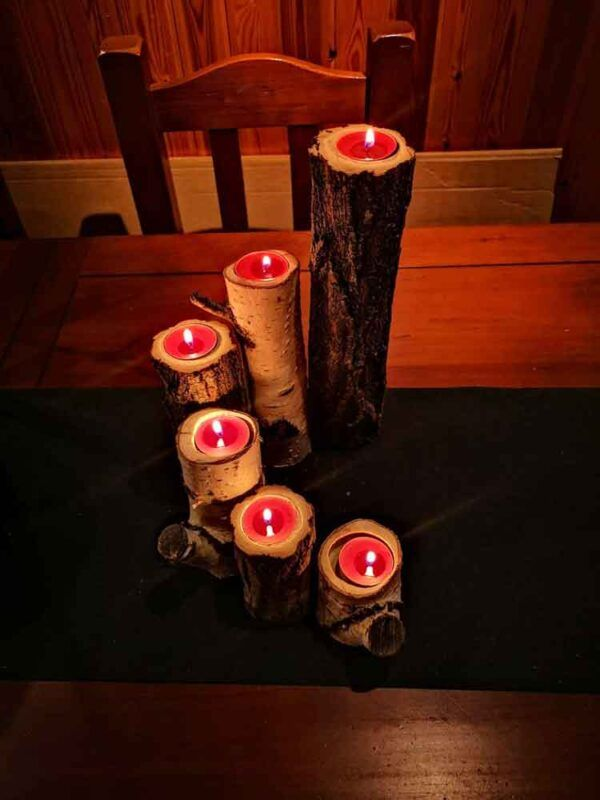 lamparas de troncos de madera