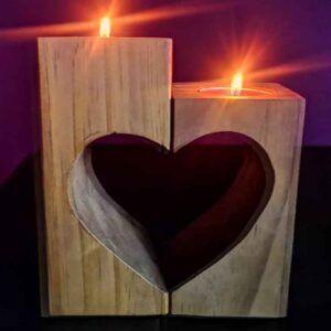 portavelas artesanales, Lampara de madera en forma de corazon