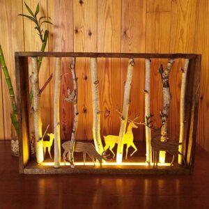 Cuadro lampara de madera con luz