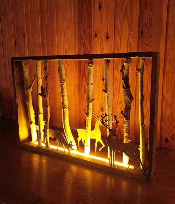 Cuadro de madera con luz