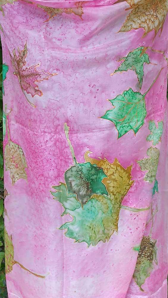 Pañuelo de seda natural pintado mano
