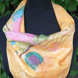 fular de seda, foulard de seda natural pintado a mano