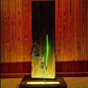 Lámpara rústica, Lámpara de mesa de madera