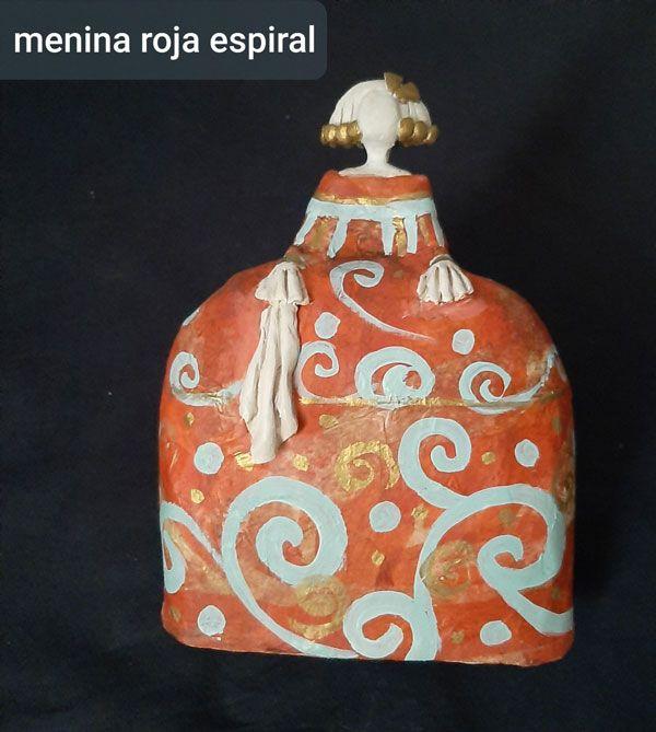 decoracion, artesania, menina roja espiral
