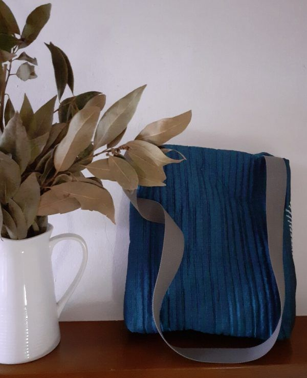 bolso artesanal de tela, bolso de algodon azull