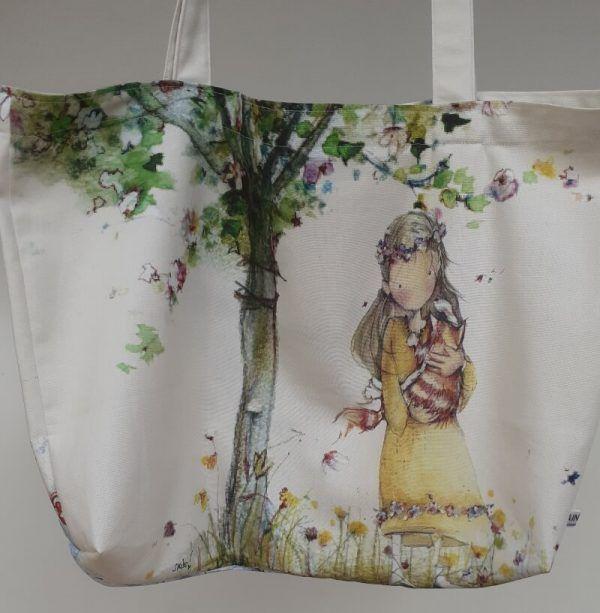 bolsa de tela, bolsa hecha a mano, bolsa con asas, lunares, bolsa de lunares, bolsa con bolsillos, bolsa reversible