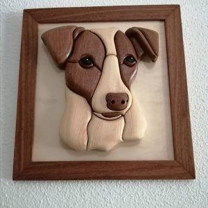 Cuadro Jack Russell en madera, cuadro perro en madera