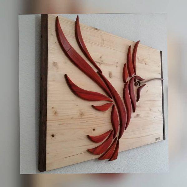 Cuadro colibrí en madera