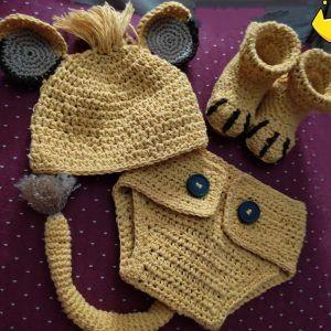 Disfraz Rey León Bebé, crochet