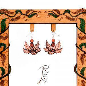 pendientes de madera, Pendientes artesanales realizados en madera y pintados a mano