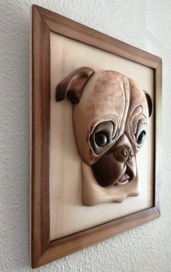 retrato de mascota en madera