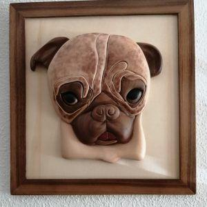 Retrato de mascota 3D intarsia